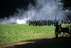 Union infantry line fires Stock Photo