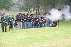 Union infantry line firing Stock Photos