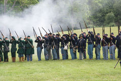Union infantry line firing Royalty Free Stock Photos