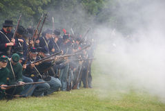 Union infantry line firing Royalty Free Stock Image