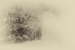 Union infantry line firing Stock Image