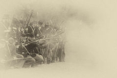 Union infantry line firing Stock Images