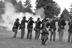Union infantry line firing a volley Royalty Free Stock Images