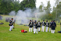 Union infantry line firing a volley Royalty Free Stock Photography