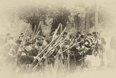 Union infantry line firing a volley Stock Photography