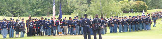 Union infantry in line formation for review Stock Image
