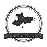 Union Island map stamp. Royalty Free Stock Photo
