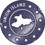 Union Island map vintage stamp. Retro style handmade label, badge or element for travel souvenirs. Deep purple rubber stamp with island map silhouette. Vector Stock Images