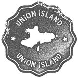Union Island map vintage stamp. Retro style handmade label, badge or element for travel souvenirs. Grey rubber stamp with island map silhouette. Vector Stock Image