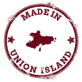 Union Island seal. Vintage island map sticker. Grunge rubber stamp with Made in text and map outline, vector illustration Royalty Free Stock Photography