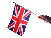 Union Jack. Waving the union jack against a white background royalty free stock photography