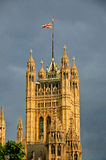 Union Jack. Flying over the Victoria Tower, House of Parliament, London, UK Royalty Free Stock Photography