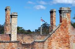 Union Jack. Flag amongst brick ruins Royalty Free Stock Images