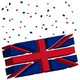Union jack 3d flag. Union jack tridimensional flag concept, abstract object isolated on white background; vector art illustration Stock Photo