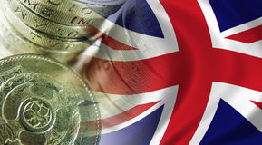 Union Jack. The Flag of the United Kingdom composited with UK coins royalty free stock images