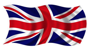 Union Jack. The Flag of the United Kingdom on white background billowing in the wind Royalty Free Stock Photo