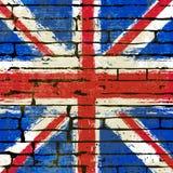 Union Jack auf einem Backsteinmauer-Hintergrund Stockfotos
