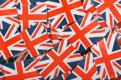 Union Jack Background. Miniature Union Jack Flags make a background royalty free stock image