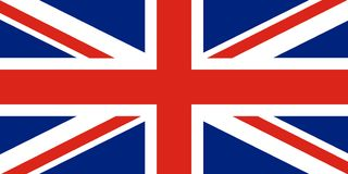 Union Jack Bandeira de Reino Unido Cruz vermelha em saltires vermelhos e brancos combinados com beiras brancas, sobre a obscurida ilustração stock