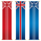 Union jack banners. Set of vertical union jack banners isolated on white Stock Image