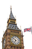 Union Jack and Big Ben. Isolated on white background stock photo