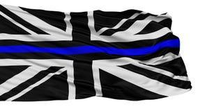 Union Jack Blue Line Cienka flaga, Odosobniona Na bielu ilustracji