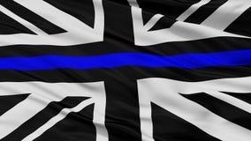 Union Jack Blue Line Cienka flaga, zbliżenie widok Ilustracja Wektor