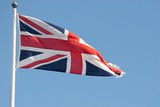Union jack. With a blue sky background Stock Image