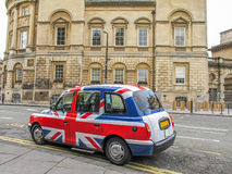 Union Jack cab. In the city of bath royalty free stock photography