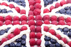 Union jack cake. Union jack made form the berries and cream Royalty Free Stock Photo