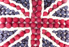Union jack cake. Union jack made form the berries and cream Stock Images