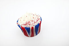 Union Jack cupcake against white background Stock Photos