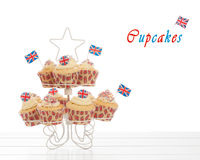 Union Jack Cupcakes. With flags on a white background Royalty Free Stock Photo