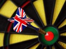 Union Jack dart in bulls eye royalty free stock photos