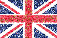 Union Jack de las bayas de una frambuesa y de una pasa Fotografía de archivo