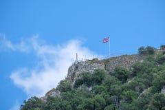 Union Jack an der Spitze des Felsens von Gibraltar Stockfoto