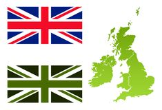 Union Jack eco flag and England map Royalty Free Stock Photo