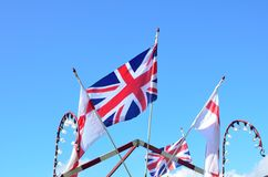 Union jack and english flags. Flying Royalty Free Stock Photos