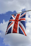 Union Jack flag. Hanging from mast Royalty Free Stock Photos