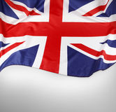 Union Jack flag. Closeup of Union Jack flag on plain background. Copy space stock images