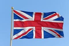 Union Jack Flag. Against Blue Sky royalty free stock images
