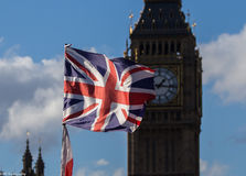 Union jack flag  and Big Ben Royalty Free Stock Photos