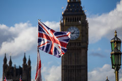 Union jack flag  and Big Ben Royalty Free Stock Images