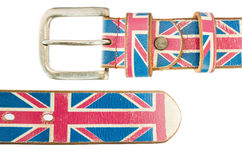 Union Jack Flag on brown leather belt Royalty Free Stock Photos