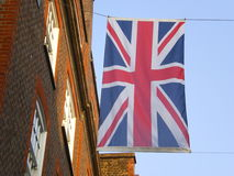 Union-Jack flag city of London. The union jack british flag in the city London with real estate apartments for investment England UK stock photo