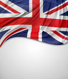 Union Jack flag. Closeup of Union Jack flag on plain background stock image