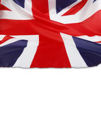 Union Jack flag. Closeup of Union Jack flag on plain background. Copy space stock photography