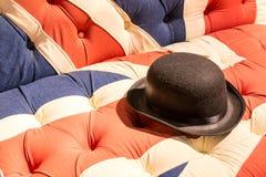 Union Jack Flag English Sofa and Bowler Hat Royalty Free Stock Image