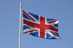 Union jack flag on flagpole Royalty Free Stock Image
