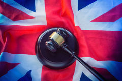 Union Jack flag and gavel - legal law concept image Royalty Free Stock Photo